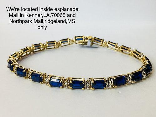 10K YELLOW GOLD 0.20CT DIAMOND  LADIES BRACELET SAPPHIRE