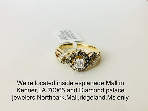 14K YELLOW GOLD 0.75CT DIAMOND FEMALE RING