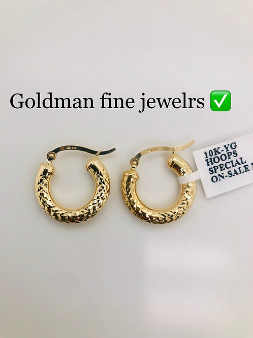 10K YELLOW GOLD 10 CENTS DIAMOND CUT LADIES HOOPS