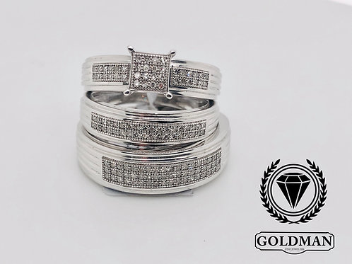 10K WHITE GOLD 0.15CT DIAMOND TRIO SET