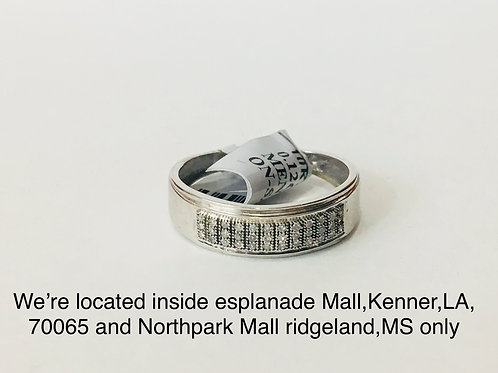 10K WHITE GOLD WITH 0.12CT DIAMOND MALE BAND