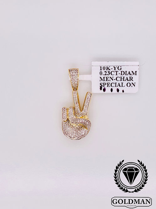 10K YELLOW GOLD 0.23CT DIAMOND MENS CHARM SPECIAL SALE