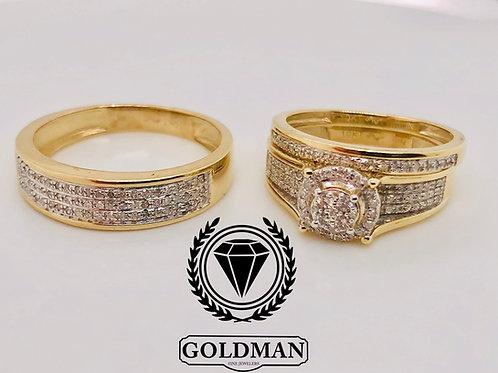 10K YELLOW GOLD 0.50CT DIAMOND TRIO SET