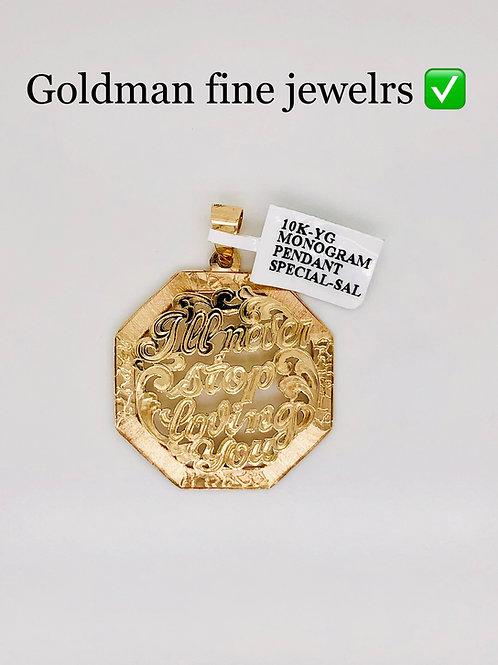 10K YELLOW GOLD MONOGRAM PENDANT SPECIAL SALE