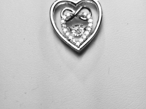 10k White&Rose Gold 0.15ct  Dancing Diamond Ladies Infinite Heart Pendant.