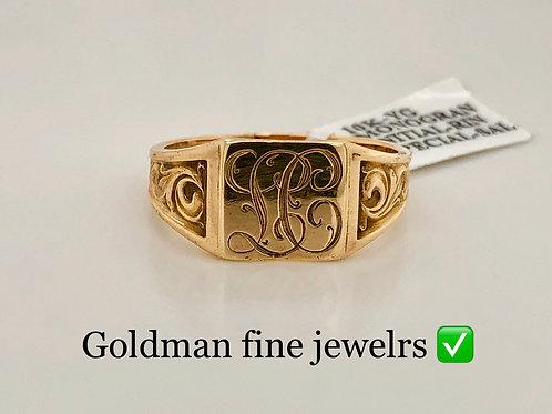 10K YELLOW GOLD MONOGRAM RING