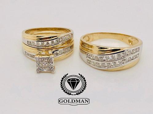 10K YELLOW GOLD 1.25CT DIAMOND TRIO SET