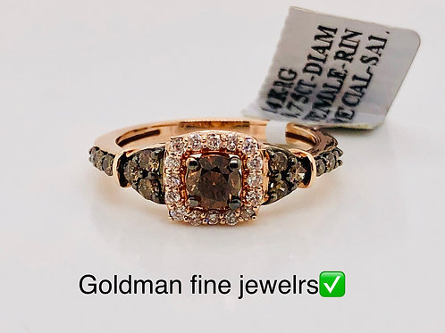 14k Rose Gold 0.75CT Chocolate Diamond Ring #302131