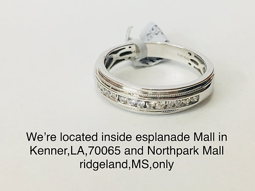 14K WHITE GOLD 0.25CT DIAMOND MALE BAND