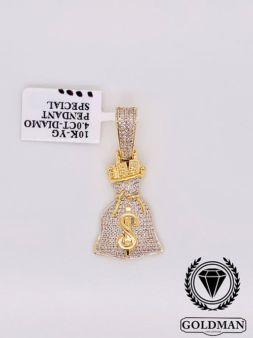 10K YELLOW GOLD 0.40CT DIAMOND CHARM