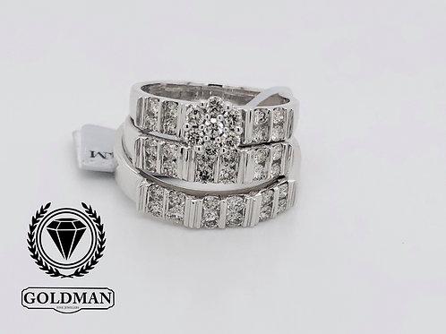 10K WHITE GOLD 1.15CT DIAMOND TRIO SET