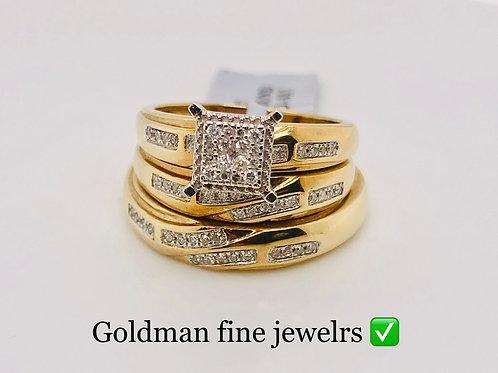 10K YELLOW GOLD 0.25CT DIAMOND TRIO SET