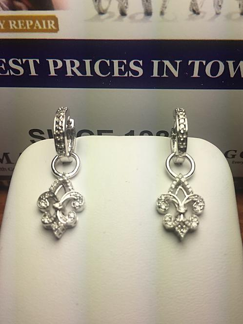 10k WG 0.20ct Diamonds Fleur-di-lis Ladies Earrings.#302750. Online Offer Only.