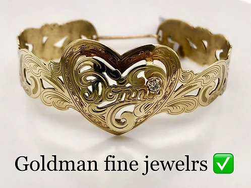 GOLD HEART CUFF BRACELET WITH BIRTHSTONE COLOR
