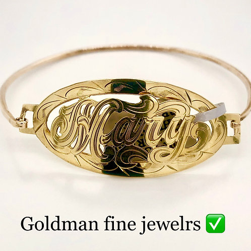 GOLD OVAL RAISED WIRE BRACELET