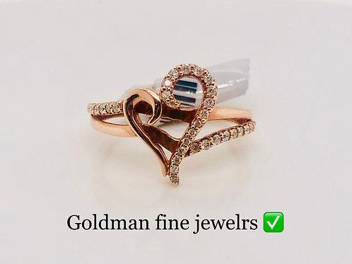 10K Rose Gold 0.20CT Diamond Heart Ring #302236