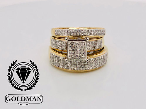 14K YELLOW GOLD 0.50CT DIAMOND TRIO SET