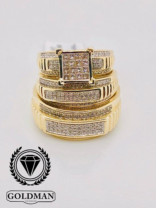 10K YELLOW GOLD 0.75CT DIAMOND TRIO SET