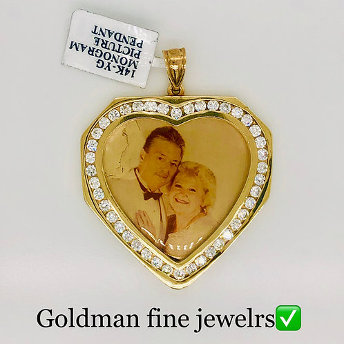 14K YELLOW GOLD OR WHITE GOLD  PICTURE PENDANT CZ STONE