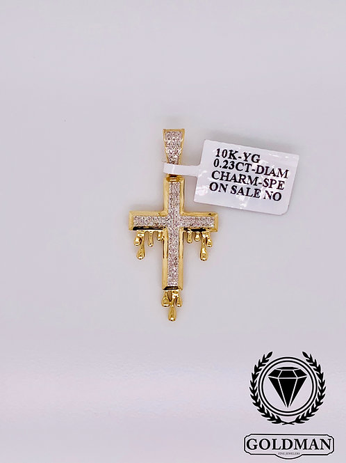 10K YELLOW GOLD 0.23CT DIAMOND MENS CHARM