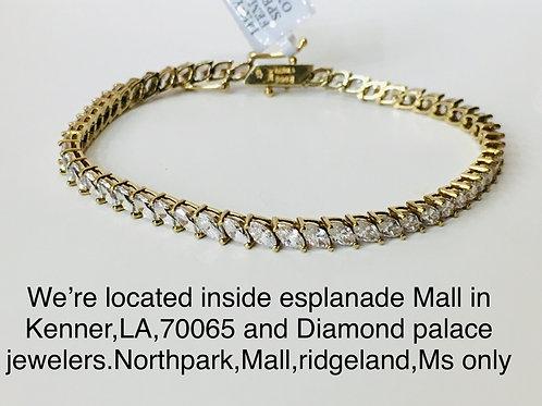 14k yellow gold Cz stones bracelet
