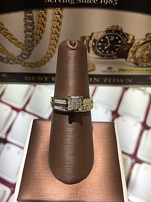 14K. YG 0.65Ct. Princess Cut Diamonds Bridal Set # 100320