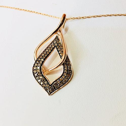 10k Rose Gold 0.33 ct Chocolate Diamond ladies Pendant