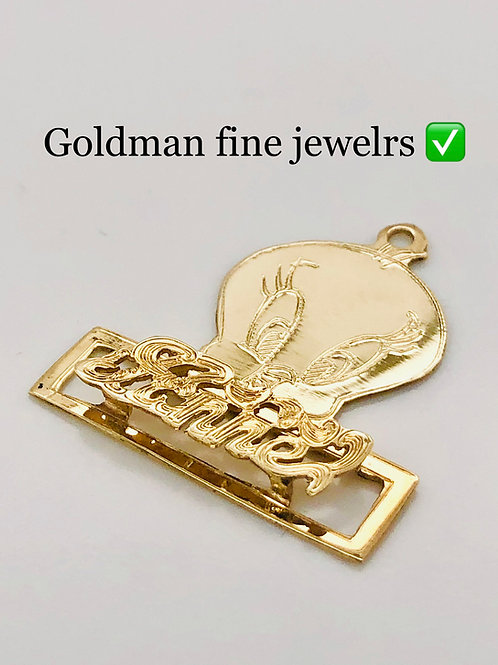 GOLD TWEETY NAME PLATE WITH FREE BOX CHAIN