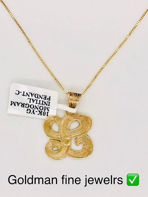 10K YELLOW GOLD MONOGRAM PENDANT WITH FREE CHAIN
