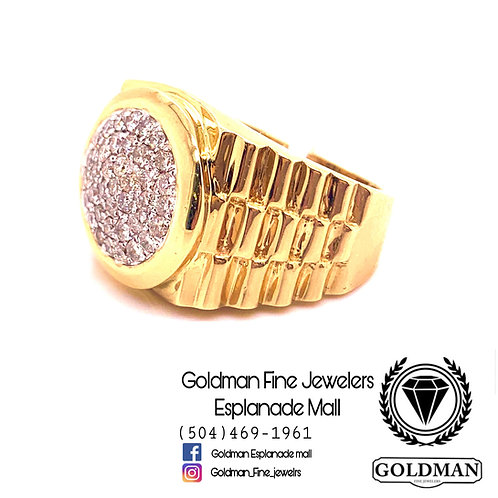 10K YELLOW GOLD 1.00CT DIAMOND MENS RING ON SALE