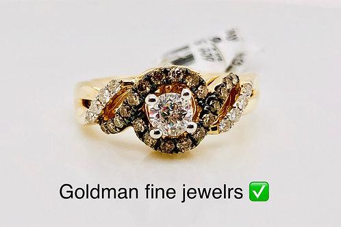 14K YELLOW GOLD 0.75CT CHOCOLATE DIAMOND RING
