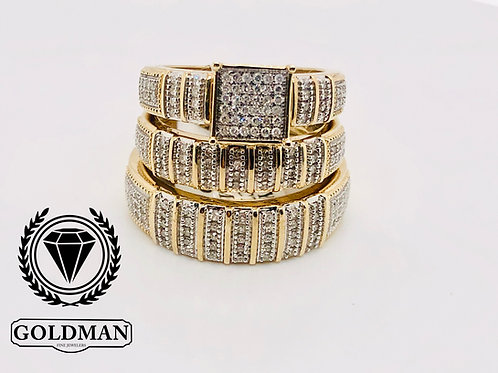 10K YELLOW GOLD 0.50CT DIAMOND TRIO SET ON SALE