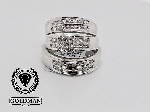 14K WHITE GOLD 0.65CT DIAMOND TRIO SET