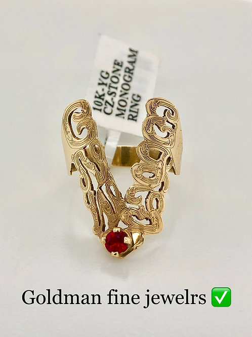 GOLD WISH BONE RING WITH BIRTH STONE