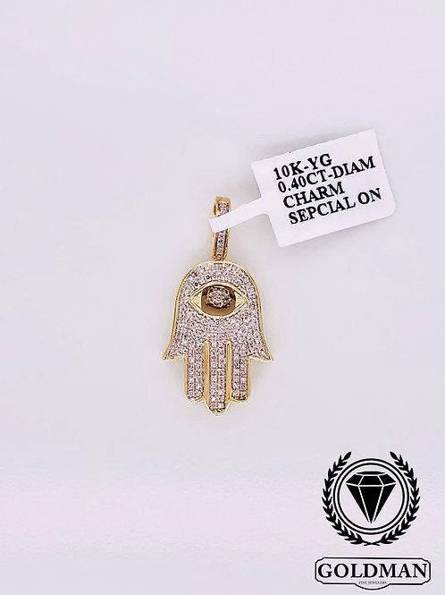 10K YELLOW GOLD 0.40CT DIAMOND MENS CHARM