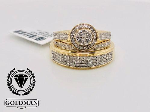 10K YELLOW GOLD 0.50CT DIAMOND TRIO SET ON SALE
