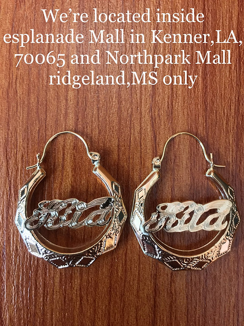 10K YELLOW GOLD MONOGRAM EARRINGS 25 CENTS SIZE