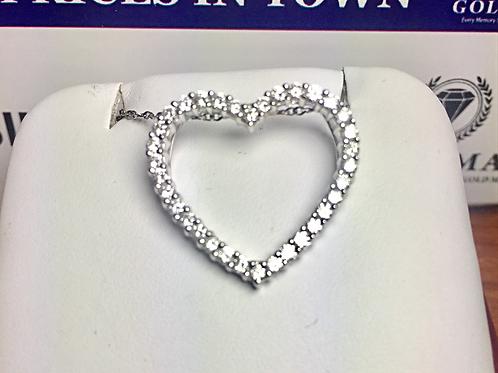 18k WG 0.20ct. Diamonds Ladies Heart Pendant.                  Online Offer Only
