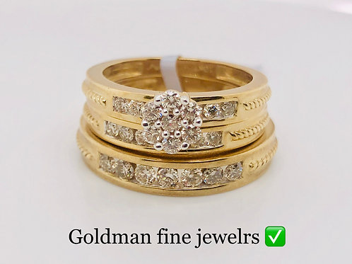 10K YELLOW GOLD 1.00CT DIAMOND TRIO SET