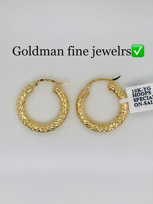 10K YELLOW GOLD 25 CENTS DIAMOND CUT LADIES HOOPS