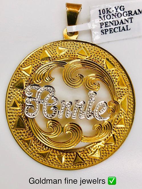 10K YELLOW GOLD MONOGRAM PENDANT
