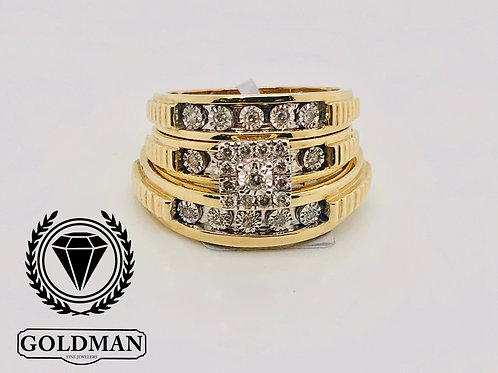 10K YELLOW GOLD 0.25CT DIAMOND TRIO SET