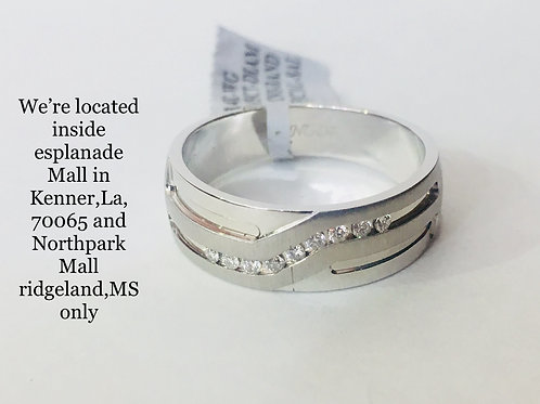14K WHITE GOLD WITH 0.15CT DIAMOND MALE BAND