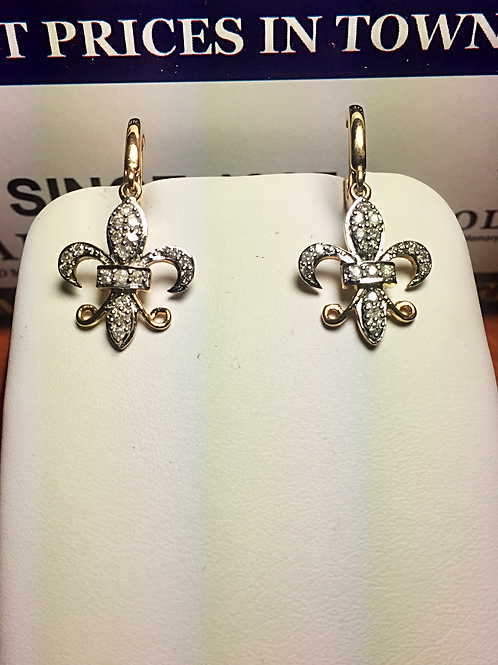10k YG 0.33ct Diamonds Ladies Fleur-di-lis Earrings # 301609   Online Offer Only