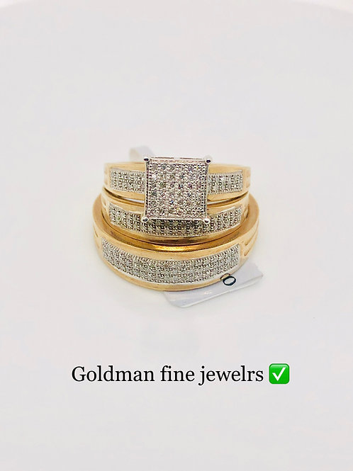 10K YELLOW GOLD 0.34CT DIAMOND TRIO SET