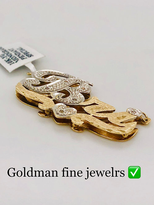 GOLD DIAMOND RAISED  NAME PLATE WITH FREE BOX CHAIN