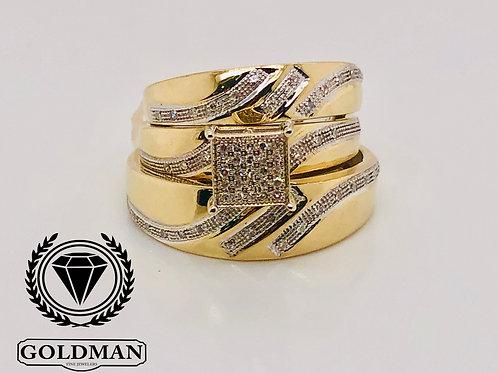 10K YELLOW GOLD 0.23CT DIAMOND TRIO SET