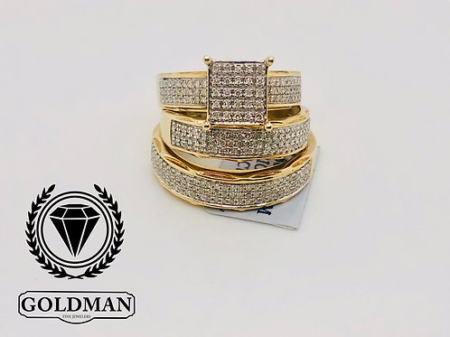 10K YELLOW GOLD 0.30CT DIAMOND TRIO SET ON  SALE