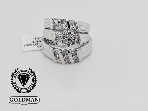 10K WHITE GOLD 1.00CT DIAMOND TRIO SET