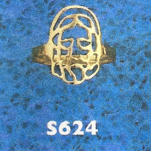 10K Gold Jesus head 10 cents monogram ring